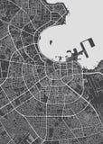 Plan de la ciudad de Doha, mapa detallado del vector