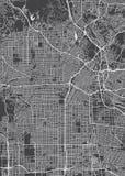 Plan de la ciudad de Los Ángeles, mapa detallado del vector ilustración del vector