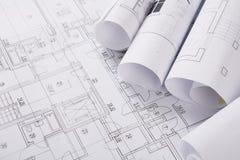 Plan de la construcción con el copyspace Fondo arquitectónico del proyecto fotos de archivo