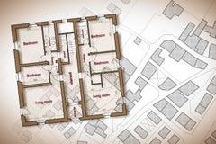 Plan de la construcción residencial sobre un mapa catastral imaginario del territorio con los edificios, de los campos y de los c fotografía de archivo