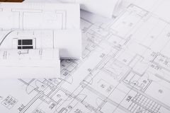 Plan de la construction avec le copyspace Fond architectural de projet Images stock