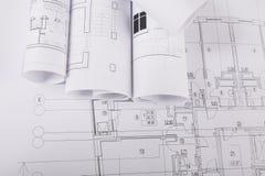 Plan de la construction avec le copyspace Fond architectural de projet Image stock