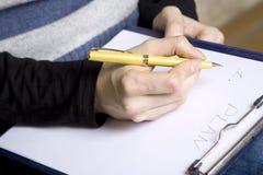 Plan de la escritura Imagen de archivo libre de regalías