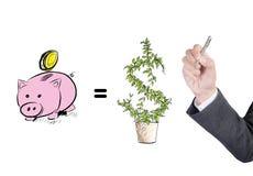 Plan de la estrategia empresarial del dibujo del hombre de negocios en la bombilla, sketc imagen de archivo