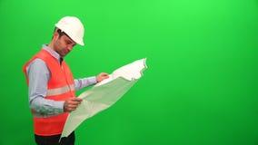 Plan de la lectura del arquitecto almacen de metraje de vídeo