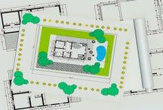 Plan de la maison deux coloré par dimentional Photographie stock