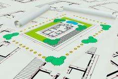 Plan de la maison deux coloré par dimentional Images stock