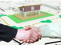 Plan de la maison trois coloré par dimentional Photographie stock libre de droits