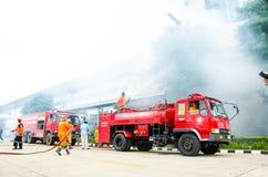 Plan de la protección contra los incendios practicantes Foto de archivo libre de regalías