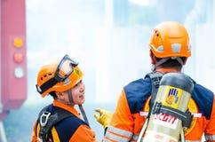 Plan de la protección contra los incendios practicantes Fotos de archivo libres de regalías