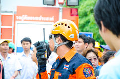 Plan de la protección contra los incendios practicantes Imagenes de archivo