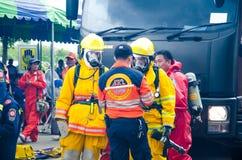 Plan de la protección contra los incendios practicantes Fotografía de archivo libre de regalías