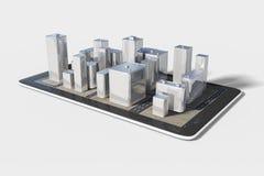 Plan de la zona urbana en el teléfono celular Imagenes de archivo