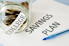 Plan de los ahorros de la universidad Foto de archivo libre de regalías