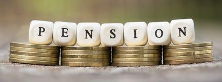 Plan de los ahorros de la pensión - idea de la bandera del web Foto de archivo