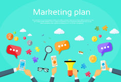 Plan de márketing de Digitaces Team Flat Vector creativo ilustración del vector