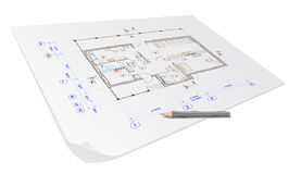 Plan de maison d'architecture Images libres de droits