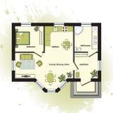 Plan de piso arquitectónico del color Foto de archivo