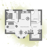 Plan de piso arquitectónico del color Imagenes de archivo