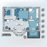 Plan de piso arquitectónico del color stock de ilustración