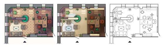 Plan de piso arquitectónico del gabinete de trabajo interior con los muebles, oficina moderna, en la visión superior ilustración del vector