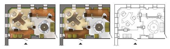 Plan de piso colorido arquitect?nico del gabinete de trabajo interior, oficina moderna, en la visi?n superior stock de ilustración