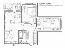 Plan de piso con muebles en la visión superior Sistema arquitectónico de la línea fina iconos de los muebles libre illustration
