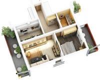 plan de piso 3d stock de ilustración