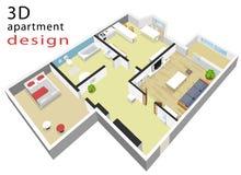 plan de piso isométrico 3d para el apartamento Ejemplo del vector del interior isométrico moderno Fotografía de archivo