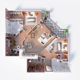 Plan de piso de un ejemplo de la opinión superior 3D de la casa