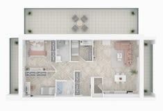 Plan de piso de una visión superior casera Abra la disposición viva del apartamento del concepto stock de ilustración