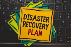 Plan de recuperación de catástrofes del texto de la escritura de la palabra Concepto del negocio para tener medidas de reserva co Fotografía de archivo libre de regalías