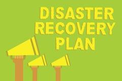 Plan de recuperación de catástrofes del texto de la escritura de la palabra Concepto del negocio para tener medidas de reserva co Imagenes de archivo