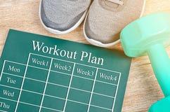 Plan de séance d'entraînement sur le conseil vert Photos stock