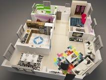 plan de suelo 3D stock de ilustración