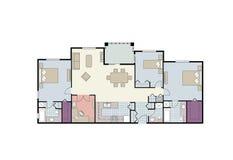 Plan de suelo de la propiedad horizontal de tres habitaciones con muebles Imágenes de archivo libres de regalías