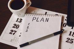 Plan del año civil para los artículos Foto de archivo