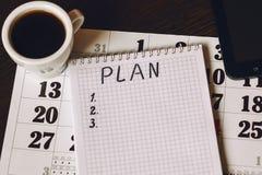 Plan del año civil para los artículos Imagen de archivo libre de regalías