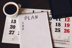 Plan del año civil para los artículos Fotografía de archivo libre de regalías