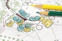 Plan del análisis de Design del arquitecto paisajista Imagenes de archivo