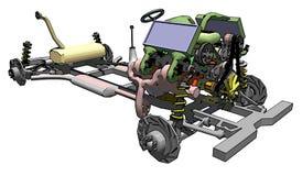 Plan del chasis del coche que muestra las ruedas, transmisión ilustración del vector