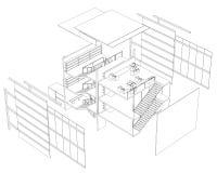Plan del edificio de tres historias ilustración del vector