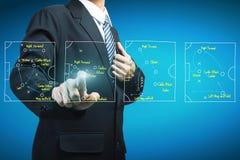 Plan del encargado del fútbol que señala a la estrategia táctica stock de ilustración