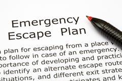 Plan del escape de la emergencia Foto de archivo libre de regalías