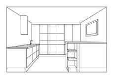 Plan del interior de la cocina Proyecto de los muebles de la cocina Fotografía de archivo