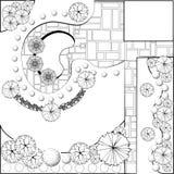 Plan del jardín blanco y negro Fotos de archivo libres de regalías