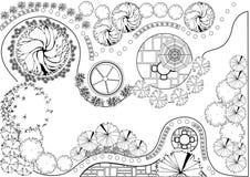 Plan del jardín blanco y negro libre illustration