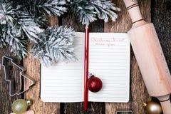 Plan del menú de la Navidad Fondo para escribir el menú de la Navidad Visión superior Imagenes de archivo