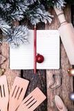 Plan del menú de la Navidad Fondo para escribir el menú de la Navidad Visión superior Fotos de archivo libres de regalías