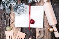 Plan del menú de la Navidad Fondo para escribir el menú de la Navidad Visión superior Fotos de archivo